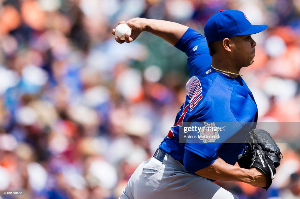 Starting pitcher Jose Quintana #62 of the Chicago Cubs throws a pitch to a Baltimore Orioles batter in the fourth inning during a game at Oriole Park at Camden Yards on July 16, 2017 in Baltimore, Maryland.