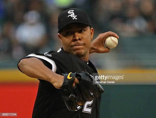 Starting pitcher Jose Quintana of the Chicago White Sox delivers the ball against the Kansas City Royals at US Cellular Field on May 20 2016 in...