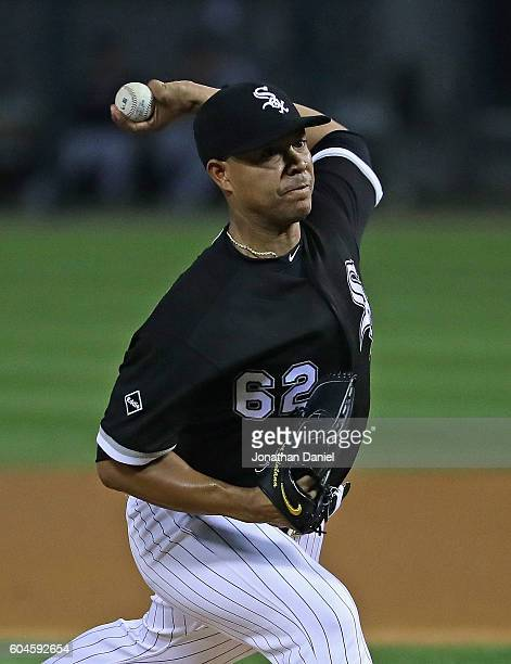 Starting pitcher Jose Quintana of the Chicago White Sox delivers the ball against the Cleveland Indians at US Cellular Field on September 13 2016 in...
