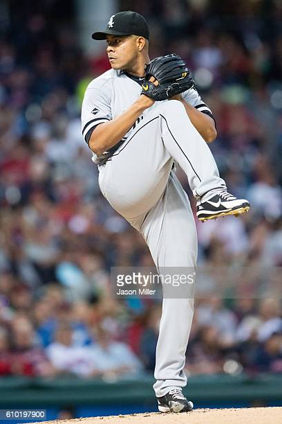 Starting pitcher Jose Quintana of the Chicago White Sox pitches during the first inning against the Cleveland Indians at Progressive Field on...