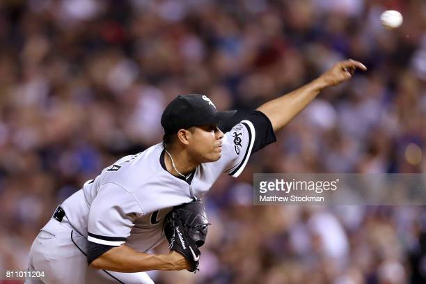 Starting pitcher Jose Quintana of the Chicago White Sox throws in the sixth inning against the Colorado Rockies at Coors Field on July 8 2017 in...