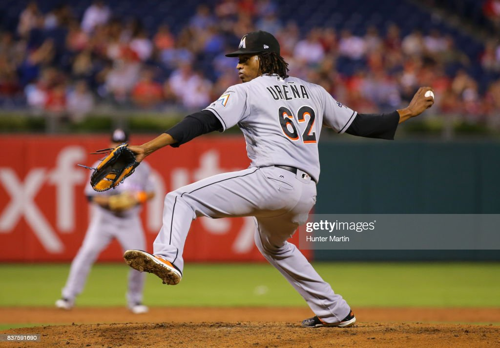 Starting pitcher Jose Urena #62 of the Miami Marlins throws a pitch in the second inning during game two of a doubleheader against the Philadelphia Phillies at Citizens Bank Park on August 22, 2017 in Philadelphia, Pennsylvania. The Marlins won 7-4.