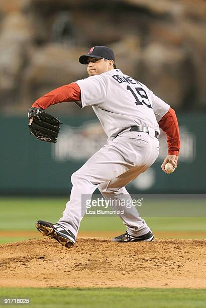 Starting pitcher Josh Beckett of the Boston Red Sox on the mound against the Los Angeles Angels of Anaheim during Game Two of the ALDS during the...