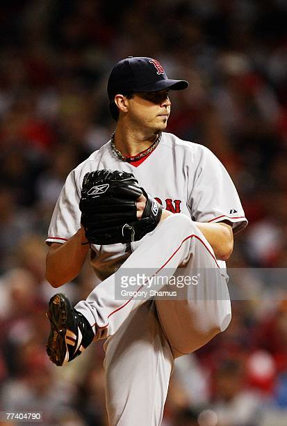 Starting pitcher Josh Beckett of the Boston Red Sox pitches against the Cleveland Indians during Game Five of the American League Championship Series...