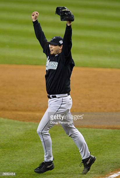 Starting pitcher Josh Beckett of the Florida Marlins 2003 World Series MVP celebrates pitching the Marlins to a 20 win over the New York Yankees game...