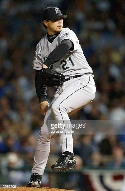 Starting pitcher Josh Beckett of the Florida Marlins pitches against the Chicago Cubs during game one of the National League Championship Series...