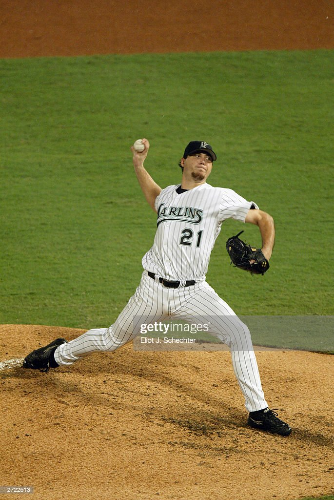 Starting pitcher Josh Beckett #21 of the Florida Marlins pitches during game three of the Major League Baseball World Series against the New York Yankees on October 21, 2003 at Pro Player Stadium in Miami, Florida. The Yankees defeated the Marlins 6-1.