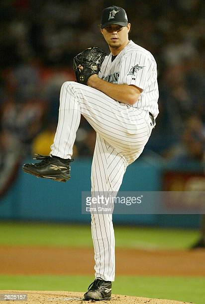 Starting pitcher Josh Beckett of the Florida Marlins throws against the New York Yankees in the first inning of Game 3 of the Major League Baseball...