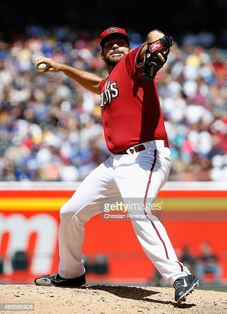 Starting pitcher Josh Collmenter of the Arizona Diamondbacks pitches against the Los Angeles Dodgers during the MLB game at Chase Field on April 12...