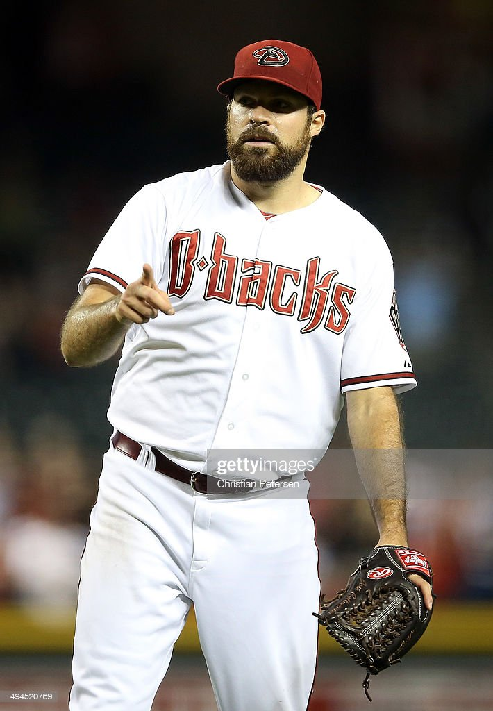 Starting pitcher Josh Collmenter #55 of the Arizona Diamondbacks reacts after defeating the Cincinnati Reds 4-0 in the MLB game at Chase Field on May 29, 2014 in Phoenix, Arizona.