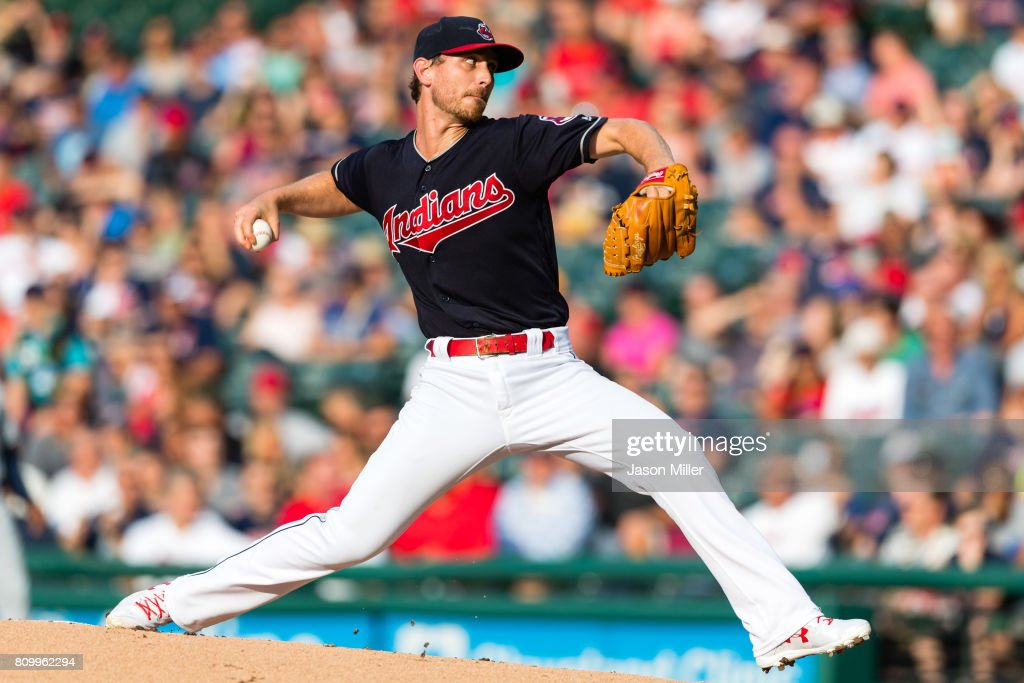 Starting pitcher Josh Tomlin #43 of the Cleveland Indians pitches during the first inning against the San Diego Padres at Progressive Field on July 6, 2017 in Cleveland, Ohio.
