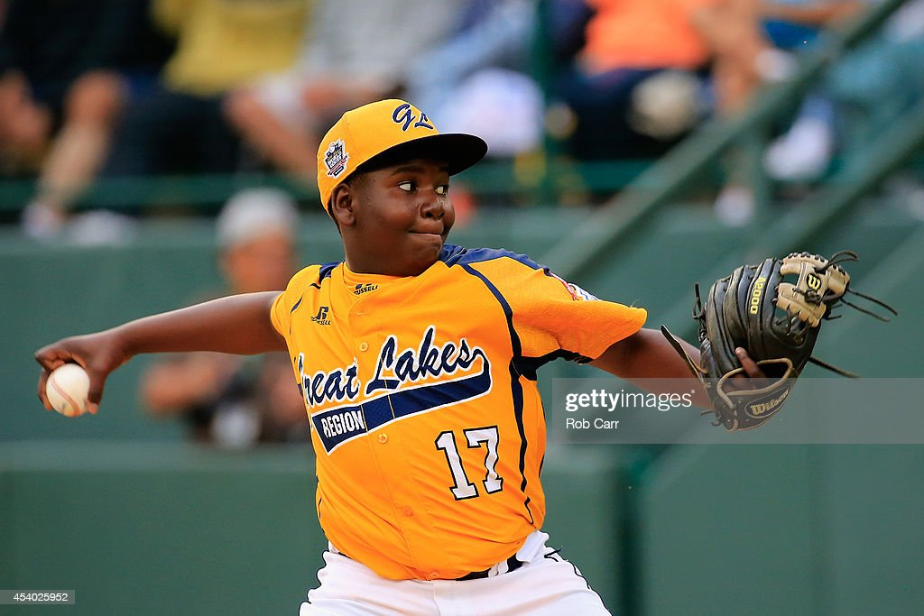 Starting pitcher Joshua Houston #17 of the Great Lakes Team from Chicago, Illinois throws to a batter from the West Team from Las Vegas, Nevada during the fourth inning of the United States Championship game of the Little League World Series at Lamade Stadium on August 23, 2014 in South Williamsport, Pennsylvania.