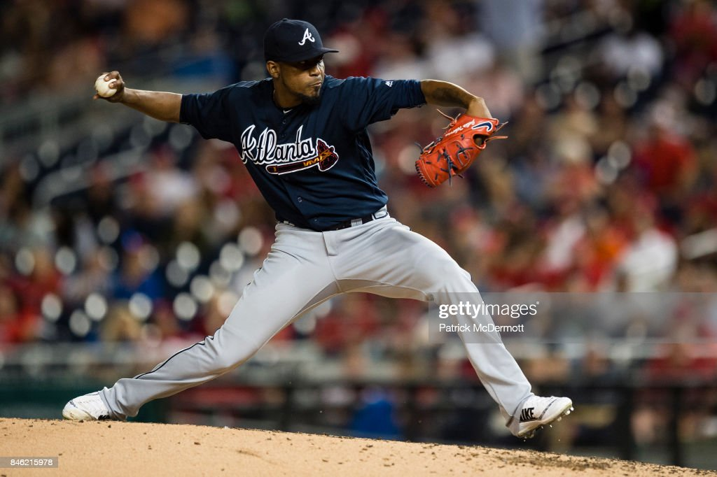 Starting pitcher Julio Teheran #49 of the Atlanta Braves throws a pitch to a Washington Nationals batter in the third inning at Nationals Park on September 12, 2017 in Washington, DC.