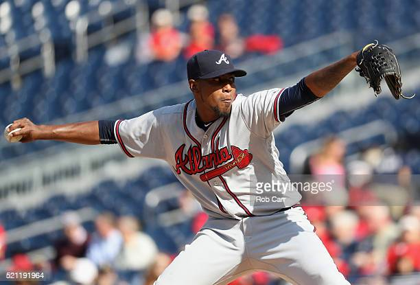 Starting pitcher Julio Teheran of the Atlanta Braves throws to a Washington Nationals batter in the first inning at Nationals Park on April 14 2016...