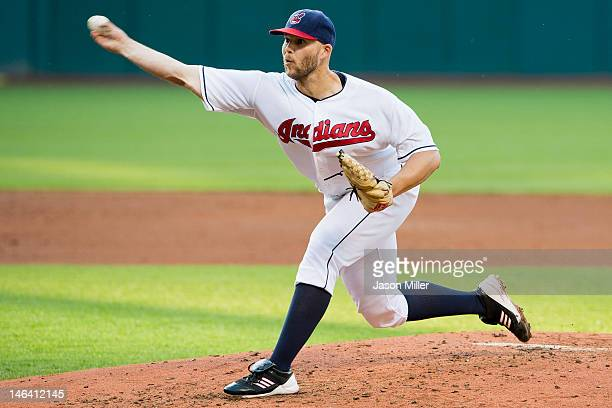 Starting pitcher Justin Masterson of the Cleveland Indians pitches during the second inning against the Pittsburgh Pirates at Progressive Field on...