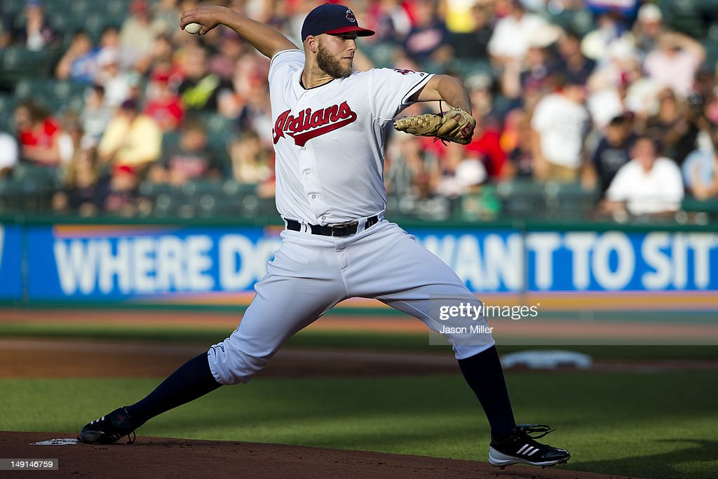 Starting pitcher Justin Masterson #63 of the Cleveland Indians pitches during the first inning against the Baltimore Orioles at Progressive Field on July 23, 2012 in Cleveland, Ohio.