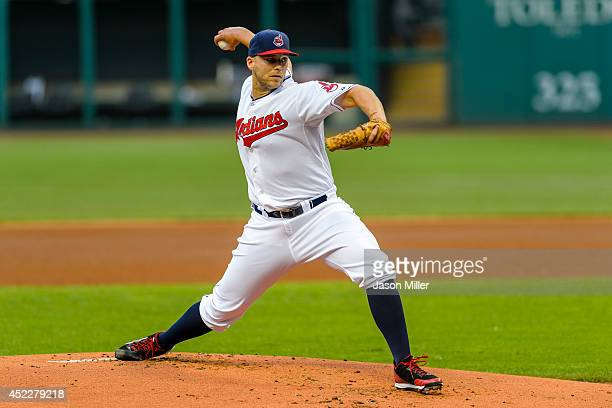 Starting pitcher Justin Masterson of the Cleveland Indians pitches during the first inning against the New York Yankees at Progressive Field on July...