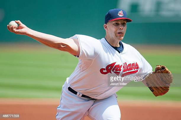 Starting pitcher Justin Masterson of the Cleveland Indians pitches during the first inning against the Minnesota Twins at Progressive Field on May 8...