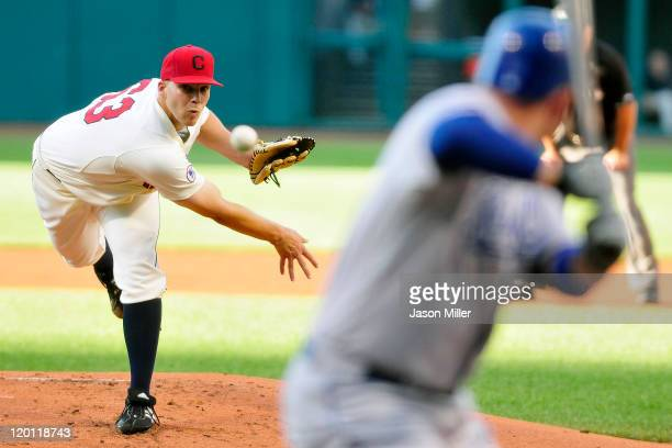 Starting pitcher Justin Masterson of the Cleveland Indians pitches to Billy Butler of the Kansas City Royals during the first inning against the...
