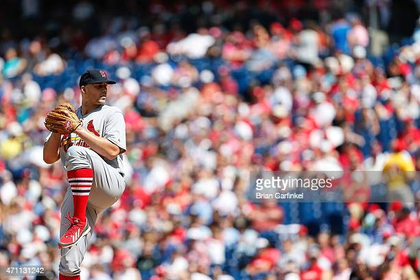 Starting pitcher Justin Masterson of the St Louis Cardinals throws a pitch during the game against the Philadelphia Phillies at Citizens Bank Park on...