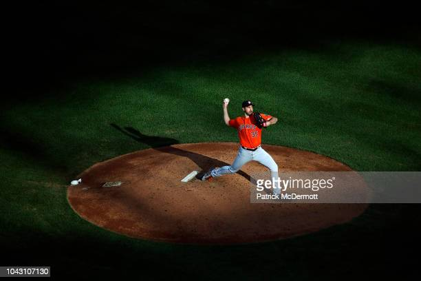 Starting pitcher Justin Verlander of the Houston Astros pitches in the third inning against the Baltimore Orioles during Game One of a doubleheader...