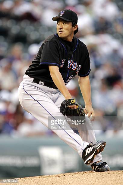 Starting pitcher Kazuhisa Ishii of the New York Mets winds up for a throw against the Colorado Rockies in the first inning on July 26 2005 at Coors...