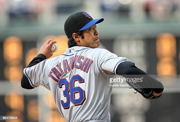 Starting pitcher Ken Takahashi of the New York Mets throws a pitch during a game against the Philadelphia Phillies at Citizens Bank Park on May 2...
