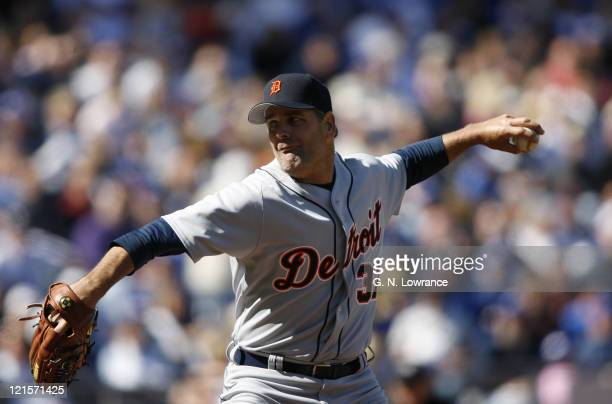 Starting pitcher Kenny Rogers of the Detroit Tigers throws a pitch during action on opening day against the Kansas City Royals at Kauffman Stadium in...