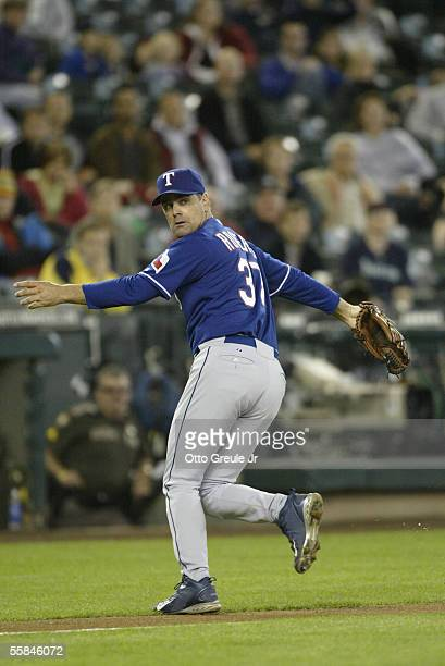 Starting Pitcher Kenny Rogers of the Texas Rangers moves on the field during the game against the Seattle Mariners on September 29 2005 at Safeco...