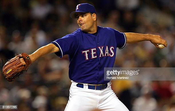 Starting pitcher Kenny Rogers of the Texas Rangers pitches against the Oakland Athletics on September 22, 2004 at Ameriquest Field in Arlington in...
