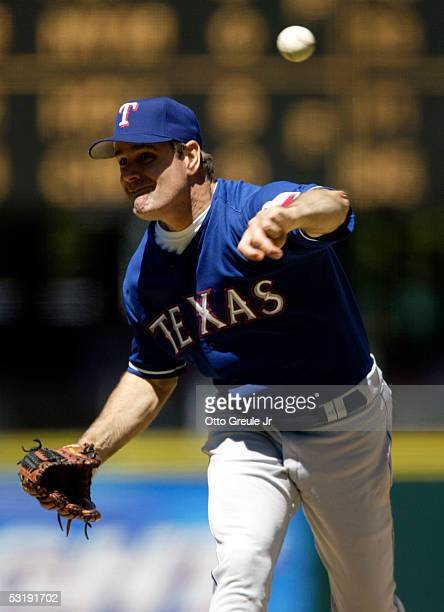 Starting pitcher Kenny Rogers of the Texas Rangers pitches against the Seattle Mariners on July 3 2005 at Safeco Field in Seattle Washington The...