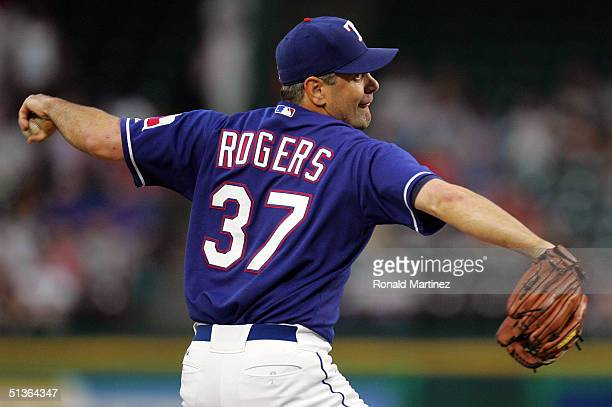 Starting pitcher Kenny Rogers of the Texas Rangers throws against the Anaheim Angels September 27, 2004 at Ameriquest Field in Arlington in...