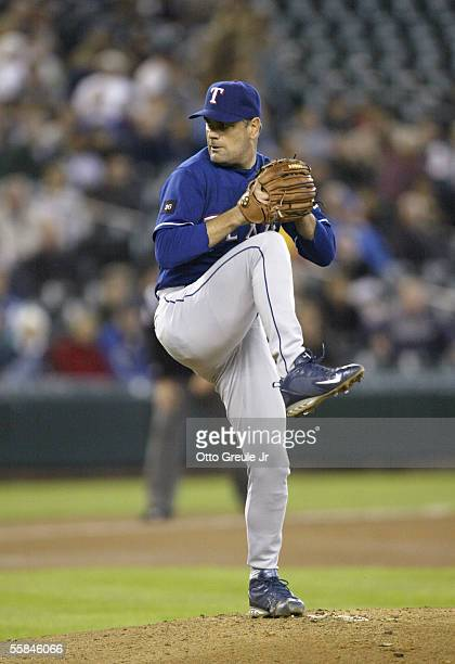 Starting Pitcher Kenny Rogers of the Texas Rangers winds up to pitch during the game against the Seattle Mariners on September 29 2005 at Safeco...