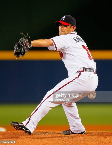 Starting pitcher Kenshin Kawakami of the Atlanta Braves pitches in the first inning against the Tampa Bay Rays at Turner Field on June 15 2010 in...
