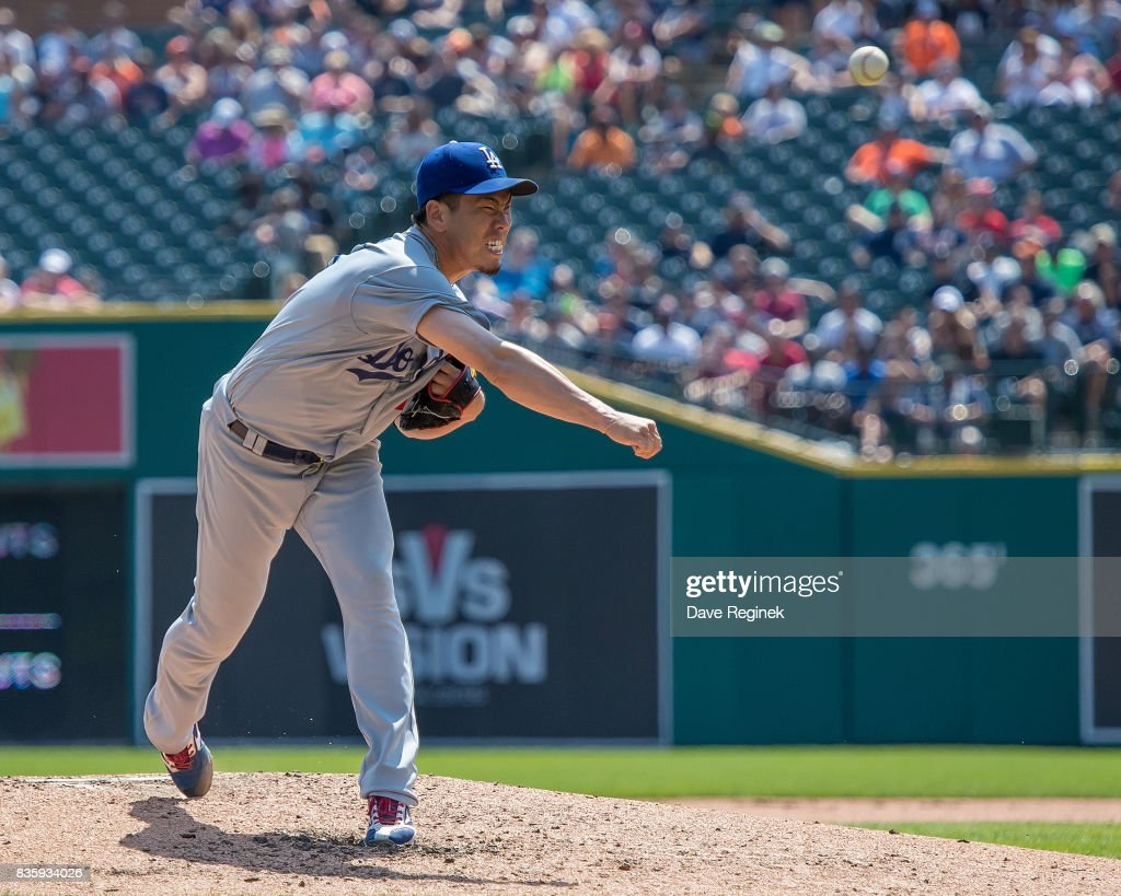 Starting pitcher Kenta Maeda #18 of the Los Angeles Dodgers throws against the Detroit Tigers during a MLB game at Comerica Park on August 20, 2017 in Detroit, Michigan. The Tigers defeated the Dodgers 6-1.