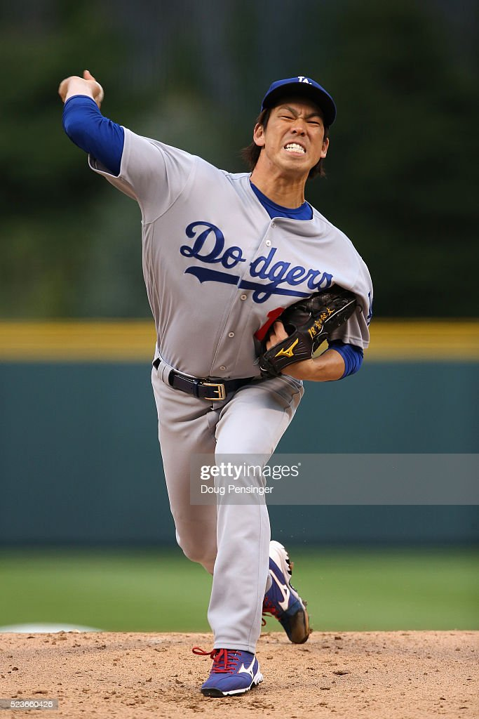 Starting pitcher Kenta Maeda #18 of the Los Angeles Dodgers works against the Colorado Rockies at Coors Field on April 23, 2016 in Denver, Colorado. Maeda earned the win as the Dodgers defeated the Rockies 4-1.