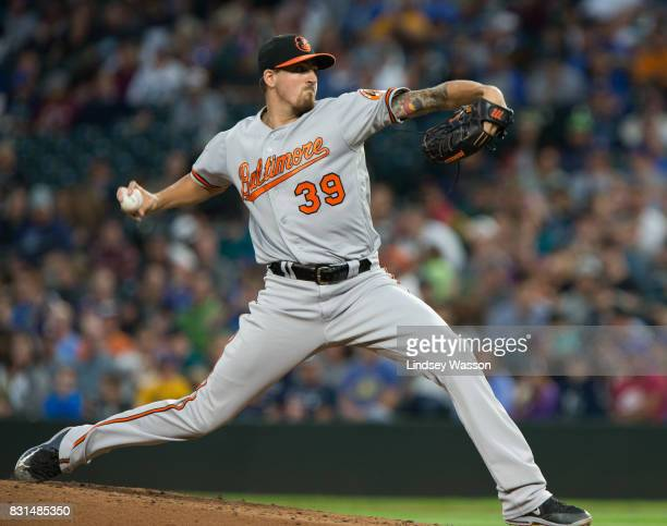 Starting pitcher Kevin Gausman of the Baltimore Orioles delivers against the Seattle Mariners in the third inning at Safeco Field on August 14 2017...