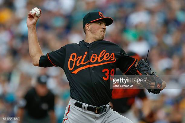 Starting pitcher Kevin Gausman of the Baltimore Orioles pitches against the Seattle Mariners in the second inning at Safeco Field on July 1 2016 in...