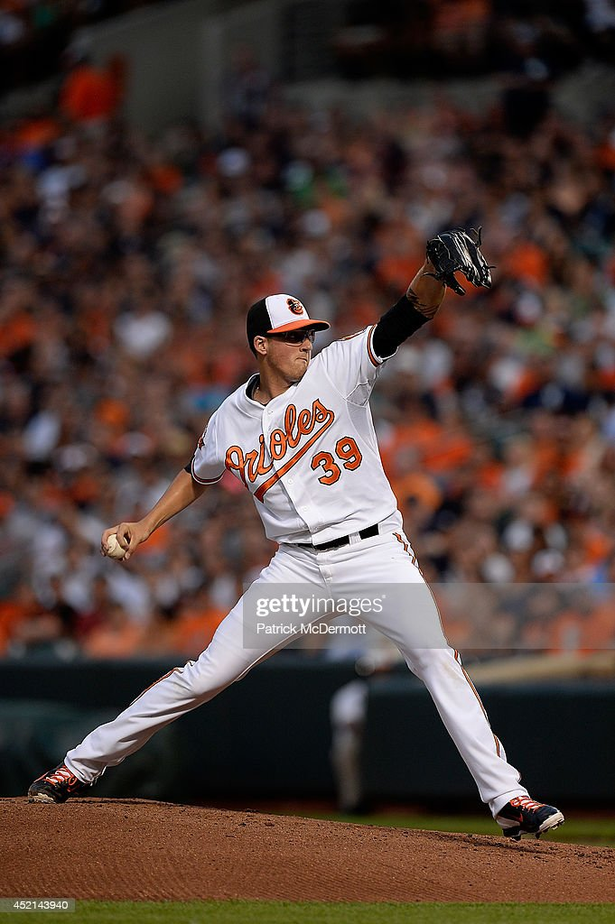 Starting pitcher Kevin Gausman #39 of the Baltimore Orioles throws a pitch in the first inning against the New York Yankees during a game at Oriole Park at Camden Yards on July 13, 2014 in Baltimore, Maryland.