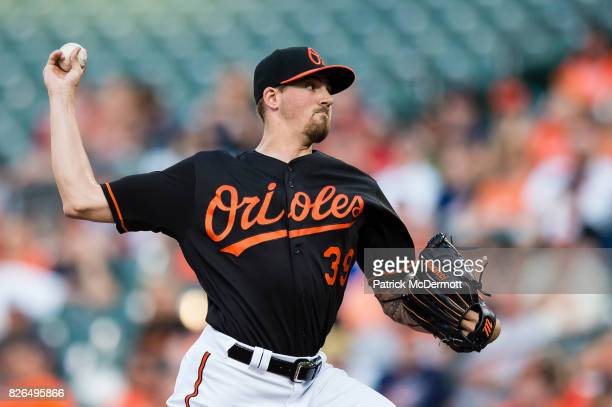 Starting pitcher Kevin Gausman of the Baltimore Orioles throws a pitch to a Detroit Tigers batter in the first inning during a game at Oriole Park at...