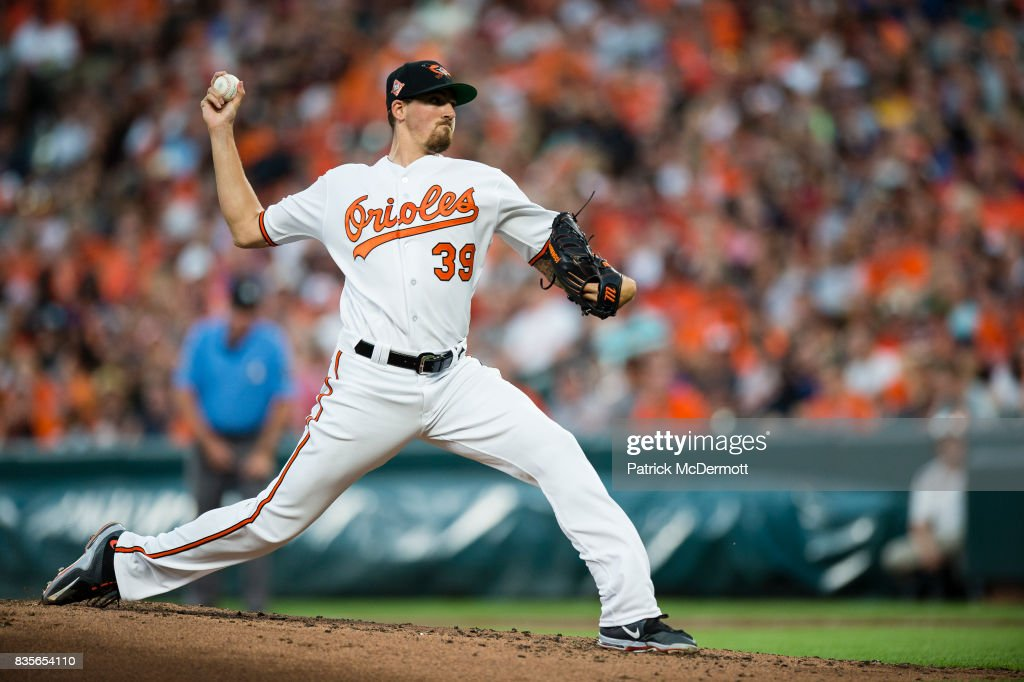 Starting pitcher Kevin Gausman #39 of the Baltimore Orioles throws a pitch to a Los Angeles Angels of Anaheim batter in the second inning during a game at Oriole Park at Camden Yards on August 19, 2017 in Baltimore, Maryland.