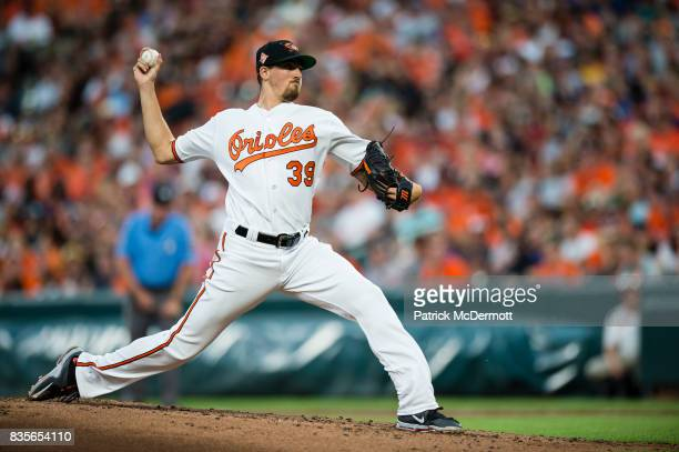 Starting pitcher Kevin Gausman of the Baltimore Orioles throws a pitch to a Los Angeles Angels of Anaheim batter in the second inning during a game...