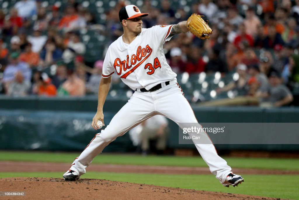 Starting pitcher Kevin Gausman #34 of the Baltimore Orioles throws to a Boston Red Sox batter in the second inning at Oriole Park at Camden Yards on July 23, 2018 in Baltimore, Maryland.
