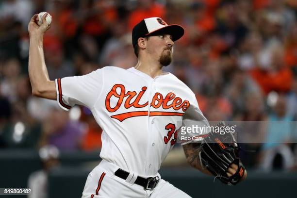 Starting pitcher Kevin Gausman of the Baltimore Orioles throws to a Boston Red Sox batter in the first inning at Oriole Park at Camden Yards on...