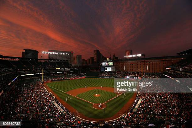 Starting pitcher Kevin Gausman of the Baltimore Orioles works batter David Ortiz of the Boston Red Sox in the first inning at Oriole Park at Camden...