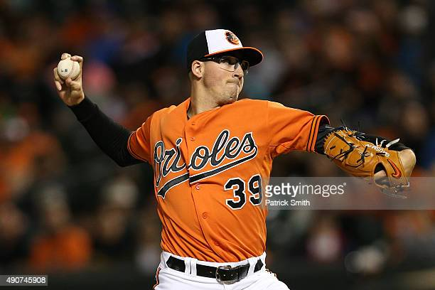 Starting pitcher Kevin Gausman of the Baltimore Orioles works the fourth inning against the Toronto Blue Jays during game two of a double header at...