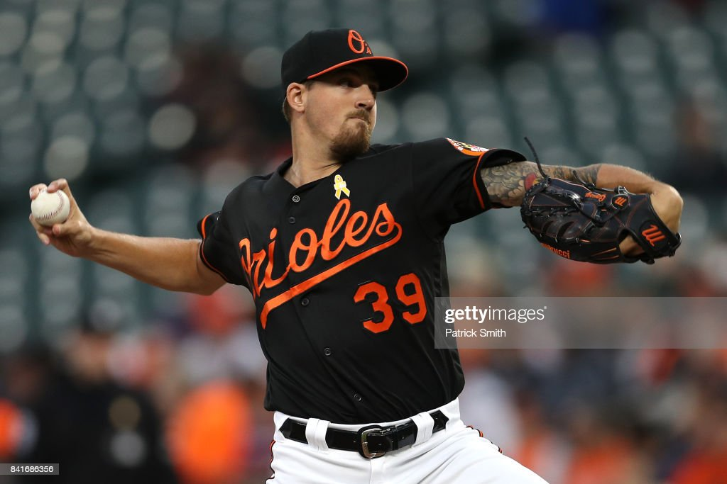 Starting pitcher Kevin Gausman #39 of the Baltimore Orioles works the first inning against the Toronto Blue Jays at Oriole Park at Camden Yards on September 1, 2017 in Baltimore, Maryland.