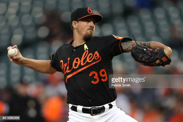 Starting pitcher Kevin Gausman of the Baltimore Orioles works the first inning against the Toronto Blue Jays at Oriole Park at Camden Yards on...
