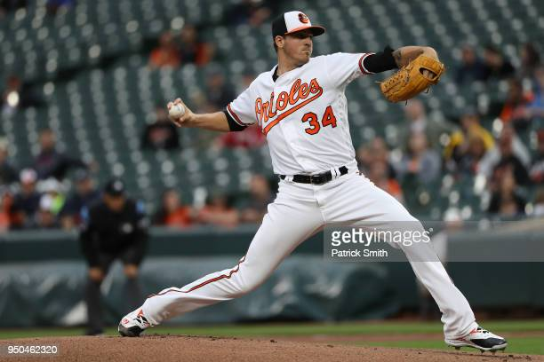 Starting pitcher Kevin Gausman of the Baltimore Orioles works the first inning against the Cleveland Indians at Oriole Park at Camden Yards on April...