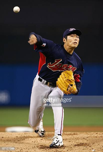 Starting pitcher Koji Uehara of Team Japan pitches against Team Korea during the Semi Final game of the World Baseball Classic at Petco Park on March...